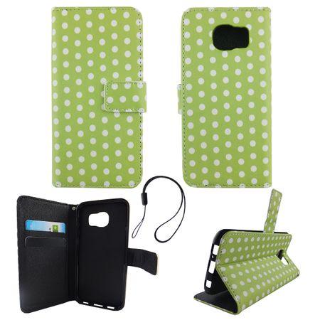 Handyhülle Tasche für Handy Samsung Galaxy S6 Polka Dot Grün Weiss