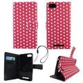 Handyhülle Tasche für Handy Wiko Lenny 3 Polka Dot Pink Weiss 001