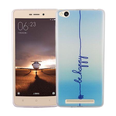 Handy Hülle für Xiaomi Redmi 3 Cover Case Schutz Tasche Motiv Slim Silikon TPU Schriftzug Be Happy Blau
