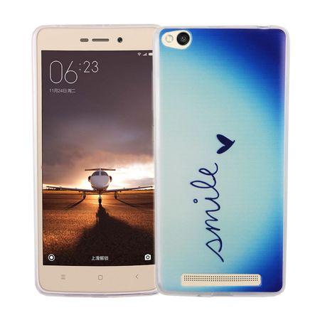 Handy Hülle für Xiaomi Redmi 3 Cover Case Schutz Tasche Motiv Slim Silikon TPU Schriftzug Smile Blau