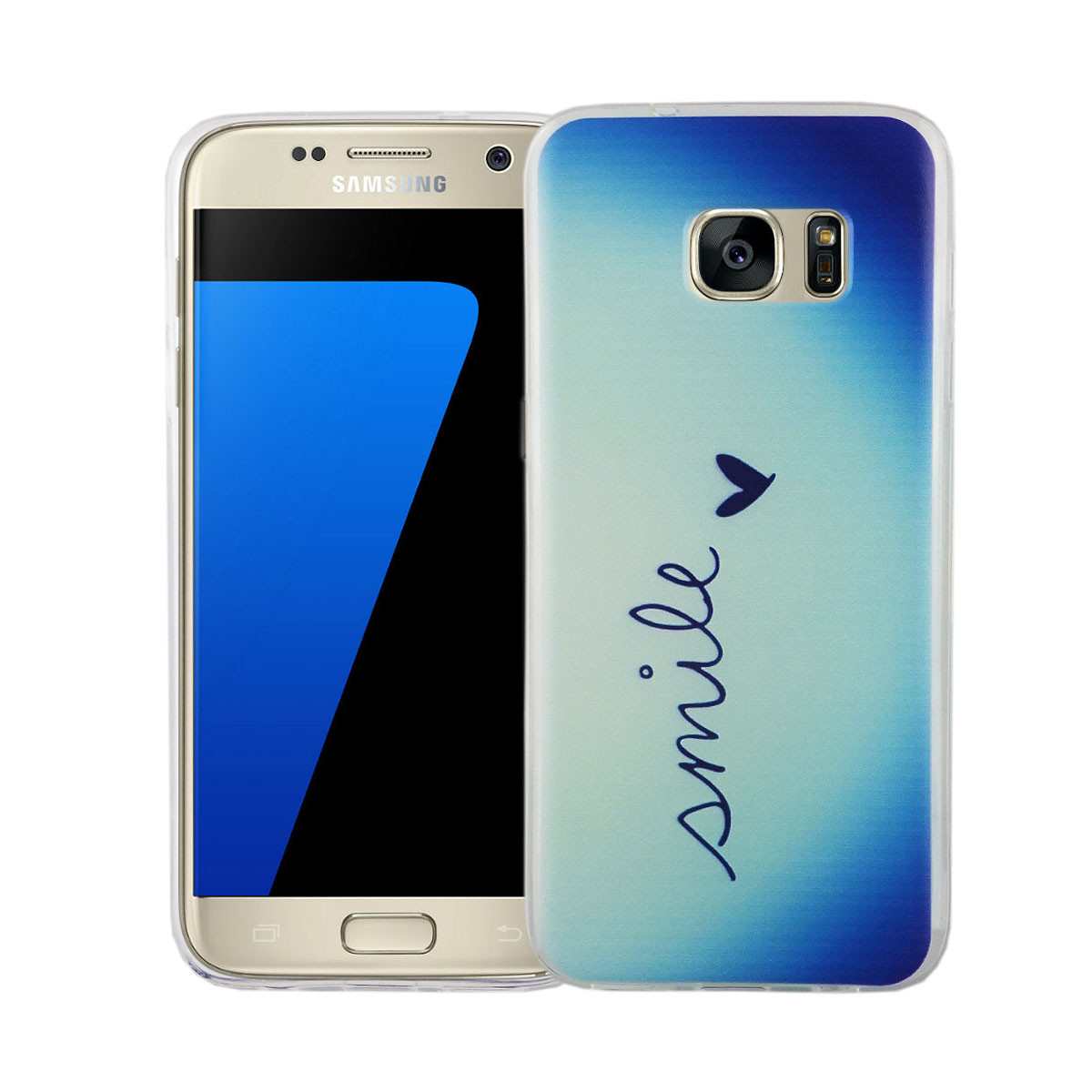 handy h lle f r samsung galaxy s7 smile blau tasche case cover motiv slim tpu ebay. Black Bedroom Furniture Sets. Home Design Ideas