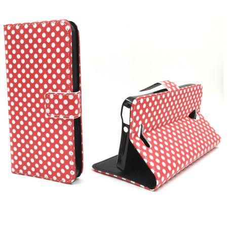 Handyhülle Tasche für Handy Alcatel Pop 4 Polka Dot Rot