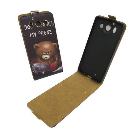 Handyhülle Tasche für Handy Microsoft Lumia 950 Bär mit Kettensäge – Bild 1