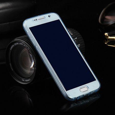 Crystal Case Hülle für Samsung Galaxy J1 2015 Blau Rahmen Full Body
