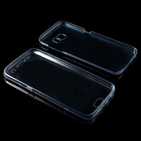 Crystal Case Hülle für Samsung Galaxy S7 Edge Blau Rahmen Full Body – Bild 3
