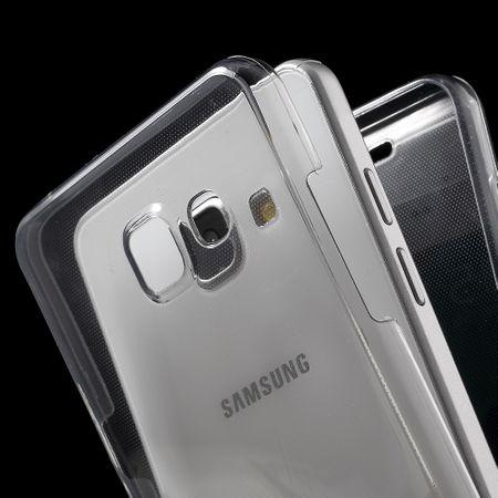 Crystal Case Hülle für Samsung Galaxy A7 2016 Grau Rahmen Full Body – Bild 4