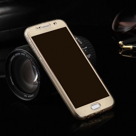 Crystal Case Hülle für Samsung Galaxy S6 Edge Plus Gold Rahmen Full Body