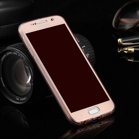 Crystal Case Hülle für Samsung Galaxy S6 Edge Plus Pink Rahmen Full Body
