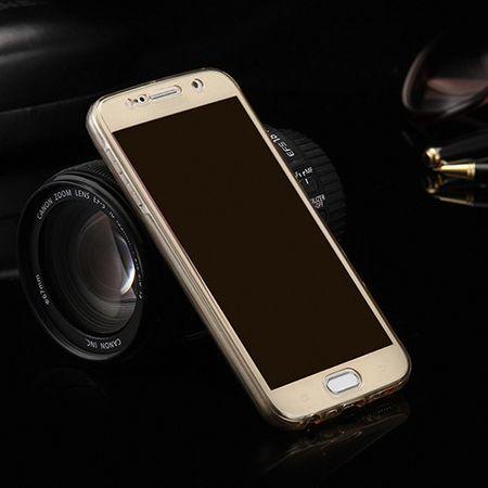 Crystal Case Hülle für Samsung Galaxy A7 2015 Gold Rahmen Full Body