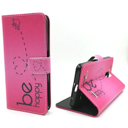 Handyhülle Tasche für Handy ZTE Blade V7 Lite Be Happy Pink – Bild 1