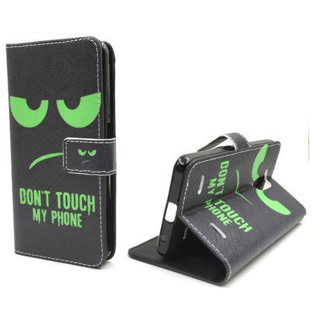 Handyhülle Tasche für Handy ZTE Blade V7 Lite Dont Touch My Phone Grün – Bild 1