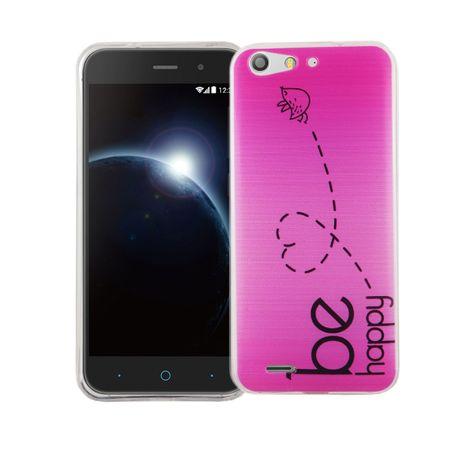 Handy Hülle für ZTE Blade V6 Cover Case Schutz Tasche Motiv Slim Silikon TPU Be Happy Pink
