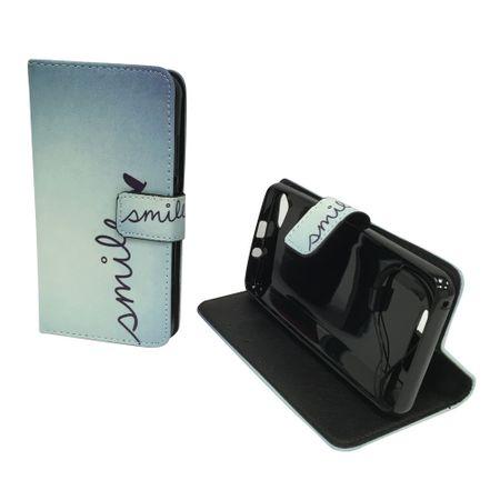 Handyhülle Tasche für Handy Wiko Jerry Schriftzug Smile Blau – Bild 3