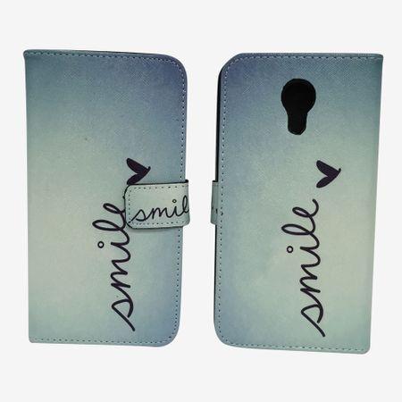 Handyhülle Tasche für Handy Wiko Robby Schriftzug Smile Blau – Bild 6