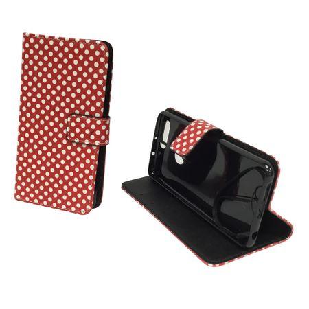Handyhülle Tasche für Handy Huawei Honor 8 Polka Dot Rot