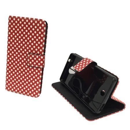 Handyhülle Tasche für Handy Wiko U Feel Polka Dot Rot – Bild 3