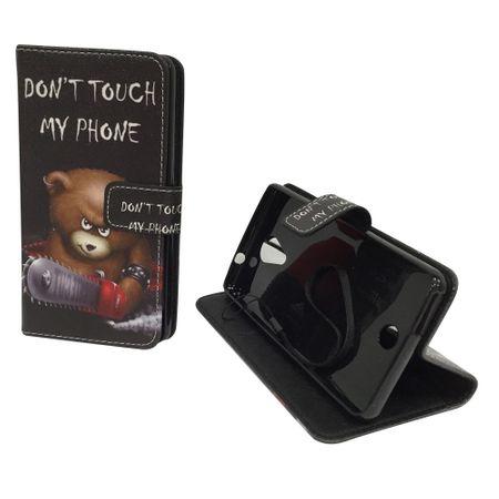 Handyhülle Tasche für Handy Wiko Tommy Schriftzug Bär mit Kettensäge – Bild 1