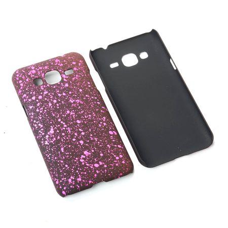 Handy Hülle Schutz Case Bumper Schale für Samsung Galaxy J3 3D Sterne Pink