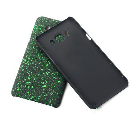 Handy Hülle Schutz Case Bumper Schale für Samsung Galaxy J7 2016 3D Sterne Grün