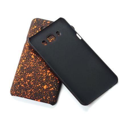 Handy Hülle Schutz Case Bumper Schale für Samsung Galaxy J7 2016 3D Sterne Orange