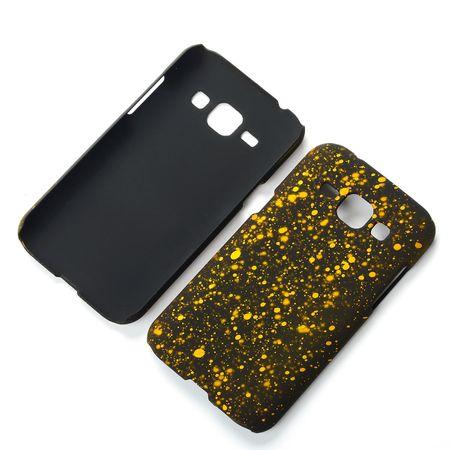 Handy Hülle Schutz Case Bumper Schale für Samsung Galaxy J1 2015 3D Sterne Gelb
