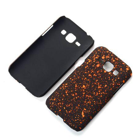 Handy Hülle Schutz Case Bumper Schale für Samsung Galaxy J1 2015 3D Sterne Orange