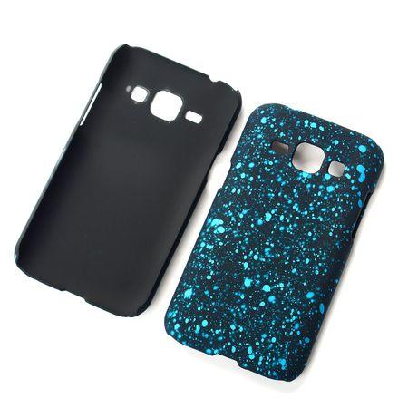 Handy Hülle Schutz Case Bumper Schale für Samsung Galaxy J1 2015 3D Sterne Türkis