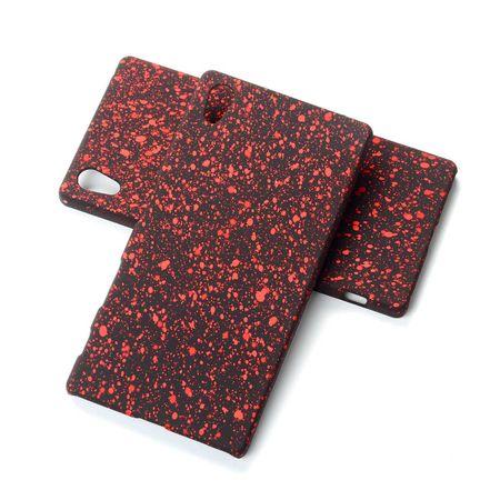 Handy Hülle Schutz Case Bumper Schale für Sony Xperia Z5 3D Sterne Rot