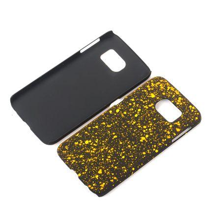 Handy Hülle Schutz Case Bumper Schale für Samsung Galaxy S6 Edge 3D Sterne Gelb