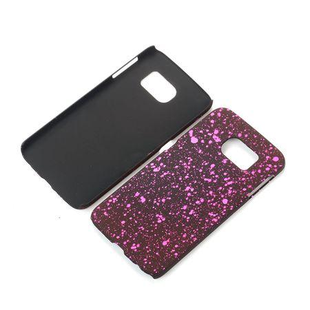 Handy Hülle Schutz Case Bumper Schale für Samsung Galaxy S6 Edge 3D Sterne Pink