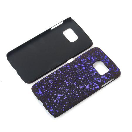 Handy Hülle Schutz Case Bumper Schale für Samsung Galaxy S6 Edge 3D Sterne Lila
