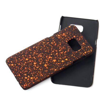 Handy Hülle Schutz Case Bumper Schale für Samsung Galaxy S6 Edge Plus 3D Sterne Orange