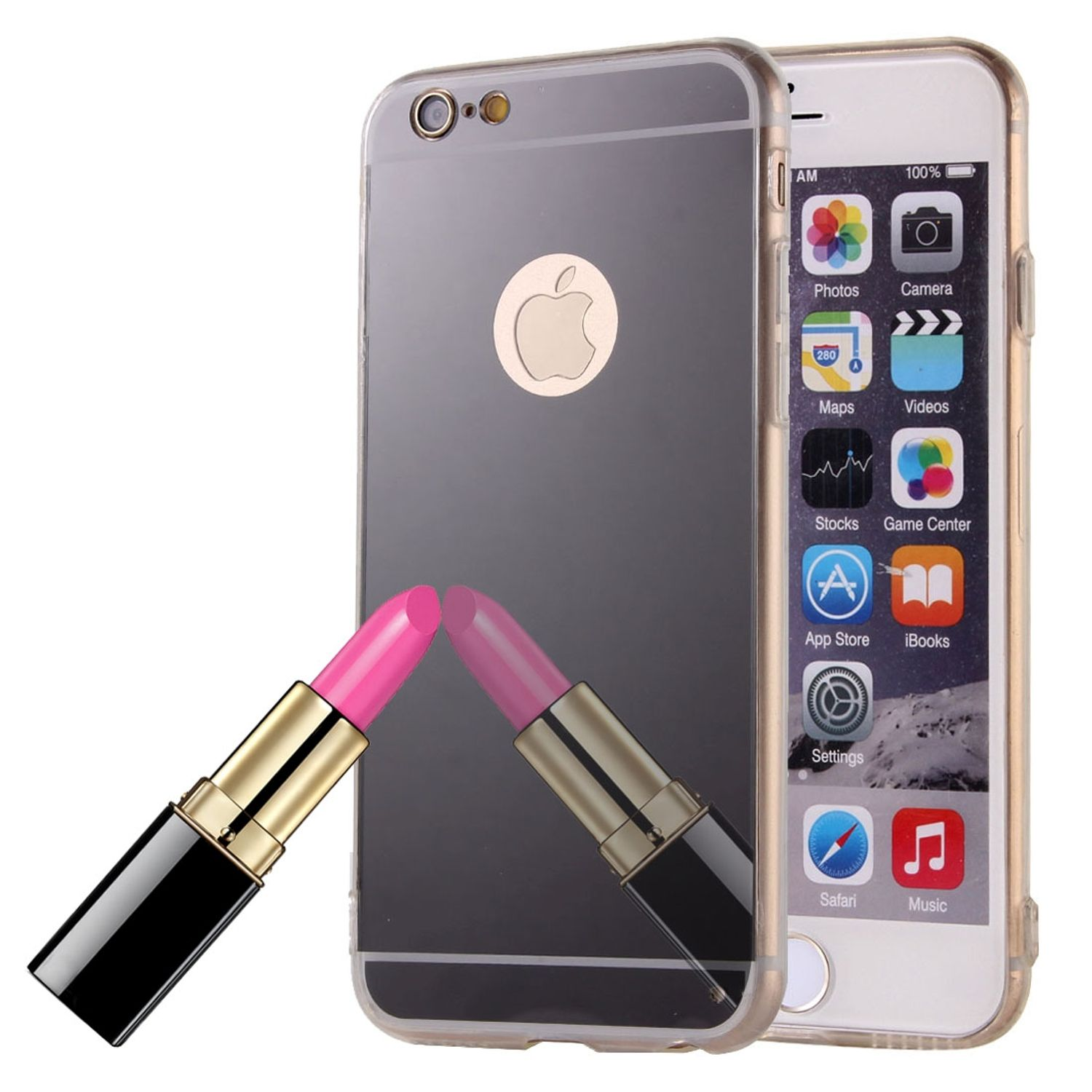 apple iphone 6 6s plus handy h lle spiegel mirror soft case schutz cover schwarz. Black Bedroom Furniture Sets. Home Design Ideas