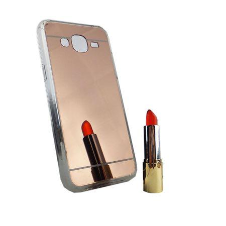 Samsung Galaxy J5 2015 Handy-Hülle Spiegel Mirror Soft-Case Schutz-Cover Rose Gold