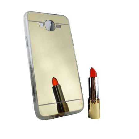 Samsung Galaxy J7 2015 Handy-Hülle Spiegel Mirror Soft-Case Schutz-Cover Gold