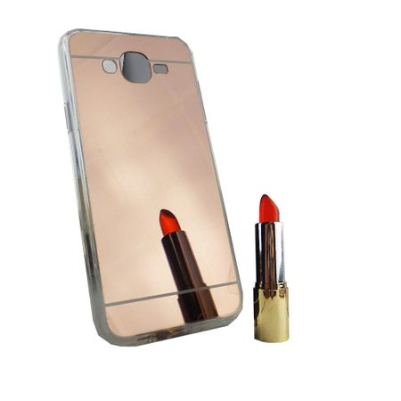 Samsung Galaxy J7 2015 Handy-Hülle Spiegel Mirror Soft-Case Schutz-Cover Rose Gold