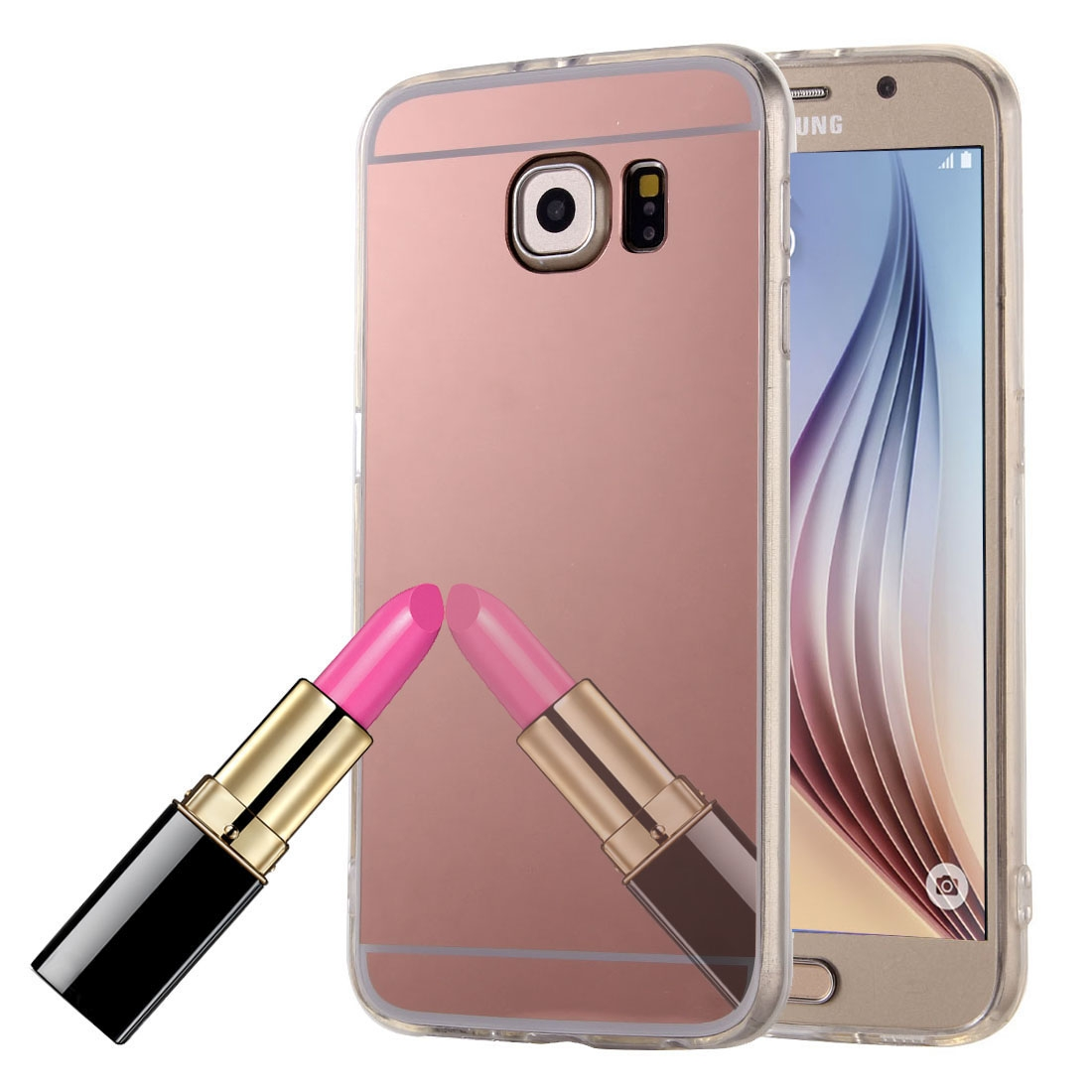 handy h lle spiegel mirror soft case schutz h lle cover f r samsung galaxy s6 edge rose gold. Black Bedroom Furniture Sets. Home Design Ideas