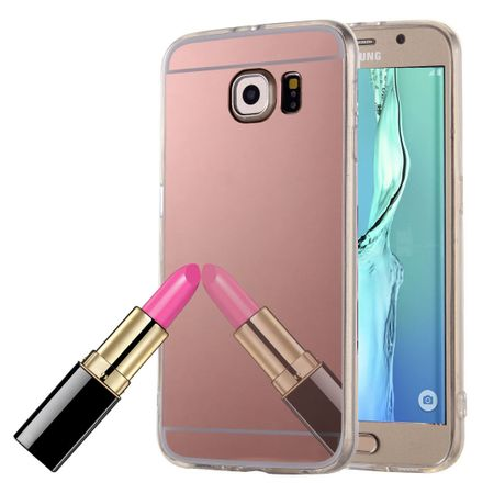 Samsung Galaxy S6 Edge Plus Handy-Hülle Spiegel Mirror Soft-Case Schutz-Cover Rose Gold