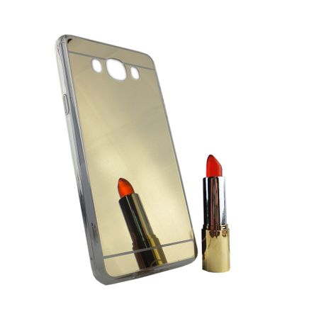 Samsung Galaxy J7 2016 Handy-Hülle Spiegel Mirror Soft-Case Schutz-Cover Gold