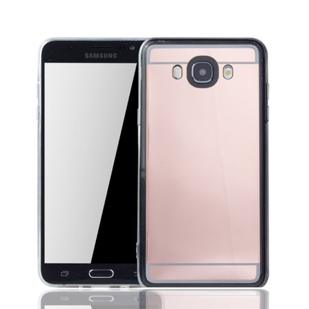 Samsung Galaxy J7 2016 Handy-Hülle Spiegel Mirror Soft-Case Schutz-Cover Rose Gold