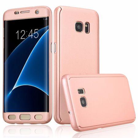 Full Cover 360 Case Handy Schutz Hülle mit Displayschutz Folie für Samsung Galaxy S6  Edge in Pink Rundum Schutz Case Handy Hülle Etui