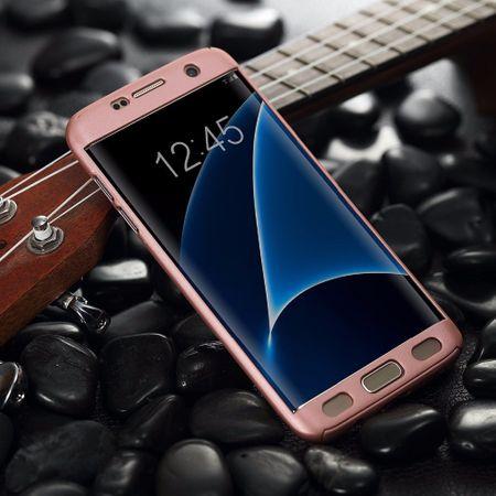 Full Cover 360 Case Handy Schutz Hülle mit Displayschutz Folie für Samsung Galaxy S7  Edge in Pink Rundum Schutz Case Handy Hülle Etui – Bild 4
