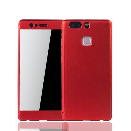 Huawei P9 Handy-Hülle Schutz-Case 360 Full-Cover Panzer Schutz Glas Rot – Bild 1