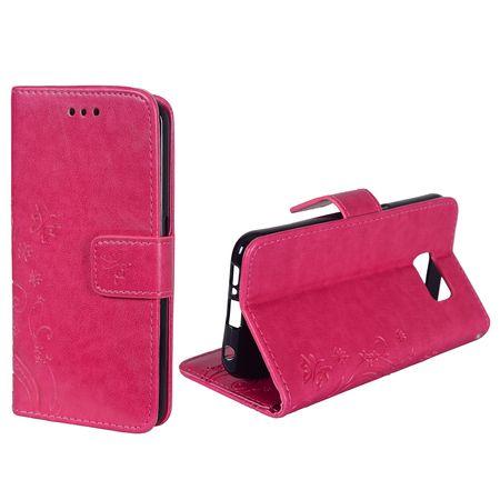 Schutz Hülle Blumen für Handy Samsung Galaxy S6 Edge Pink