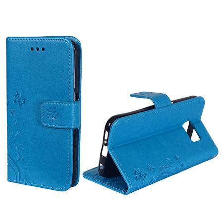 Schutz Hülle Blumen für Handy Samsung Galaxy S6 Edge Blau