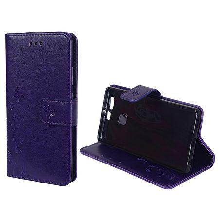 Schutz Hülle Blumen für Handy Huawei P9 Violett – Bild 2