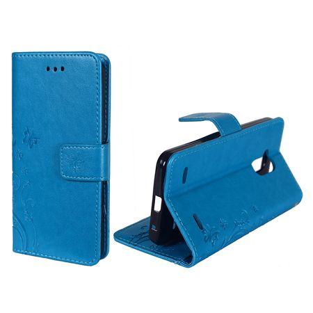 Schutz Hülle Blumen für Handy ZTE Blade V7 Lite Blau