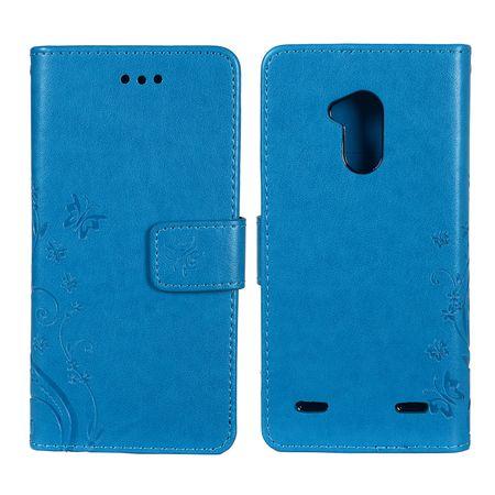 Schutz Hülle Blumen für Handy ZTE Blade V7 Lite Blau – Bild 3