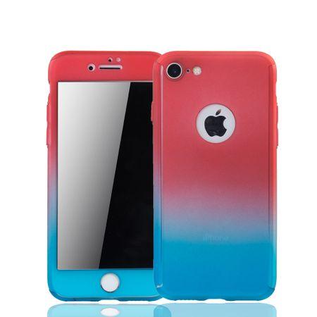 Apple iPhone 7 Handy-Hülle Schutz-Case Cover Panzer Schutz Glas Rot / Blau