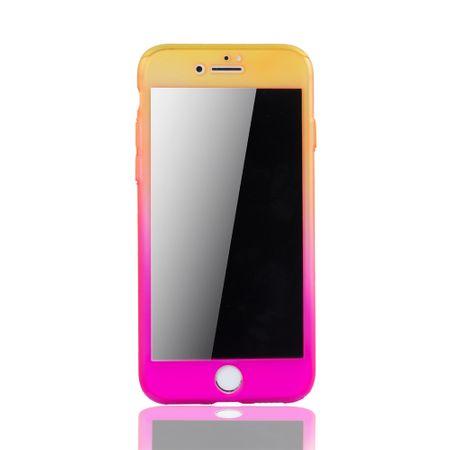 Apple iPhone 7 Handy-Hülle Schutz-Case Cover Panzer Schutz Glas Gelb / Pink – Bild 3